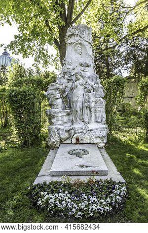 Vienna, Austria - April 26, 2015:  Johann Strauss Memorial In Zentralfriedhof, Vienna, Austria. Stra