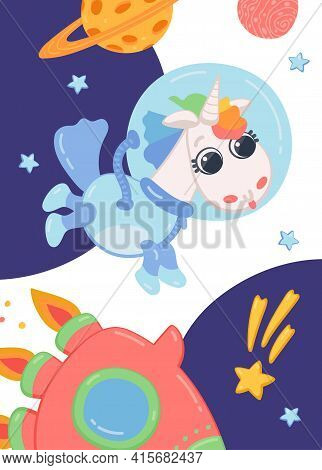 Pony Horse Astronaut Flying In Space With Stars, Planets And Rocket.