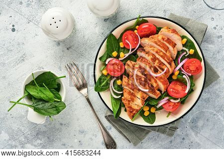 Chicken Fillet With Salad Spinach, Cherry Tomatoes, Cornflower And Onion. Healthy Food. Keto Diet, D