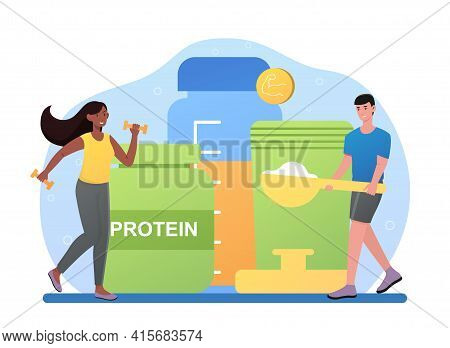 Male Character Making Protein Cocktail In Shaker In Gym. Concept Of Sportive Nutrition, Healthy Life