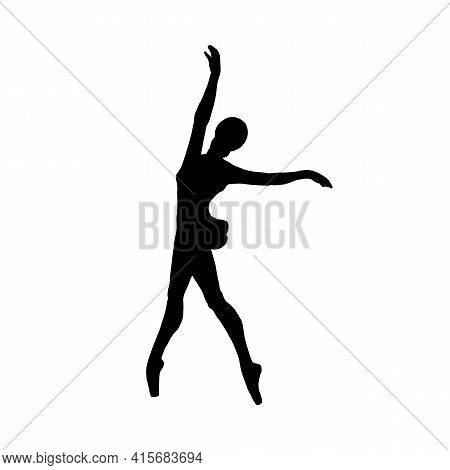 Black Ballerina Silhouette, Dancer Ballet A Vector Isolated Illustration.