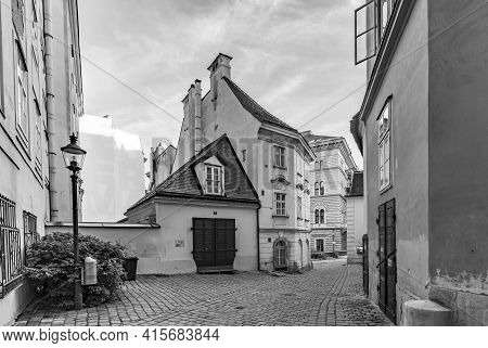 Vienna, Austria - Apr 26, 2015: Typical Old Houses In Vienna First District In The Famous Area Moelk
