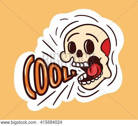 Colorful Screaming Skull Sticker With Cool Lettering. Old School Style Of Art. Stylish Vintage Screa