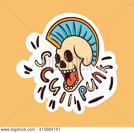 Colorful Punk Skull Sticker With Skull Punk Lettering. Old School Style Of Art. Stylish Vintage Rebe