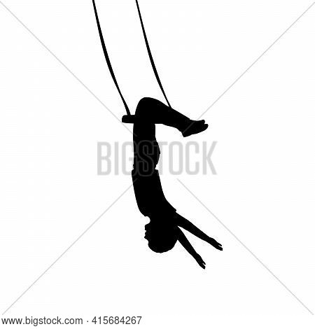 Silhouette Boy Hanging Upside Down. Illustration Graphics Icon