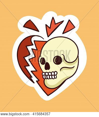 Colorful Dead Skull Sticker Reaping Heart Apart. Old School Style Of Art. Stylish Vintage Dead Drawi