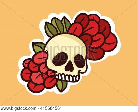 Colorful Dead Skull Sticker With Flowers Coming Out Of Head. Old School Style Of Art. Stylish Vintag