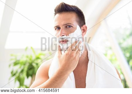 Handsome Man Ready To Shaving His Face