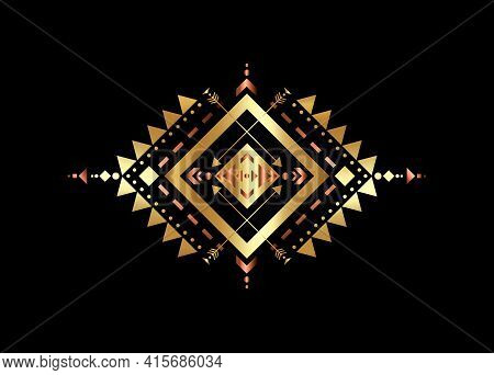 Gold Mexican Aztec Tribal Traditional Geometric Metallic Logo Design Isolated On Black Background. S