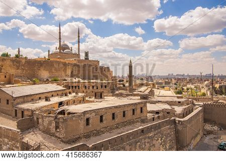Day Shot Of Great Mosque Of Muhammad Ali Pasha - Alabaster Mosque - Located In The Citadel Of Cairo