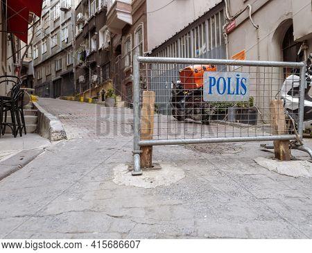 Taksim, Istanbul, Turkey - 03.12.2021: Moving Police (polis In Turkish) Fence Pedestrian Fencing Bar