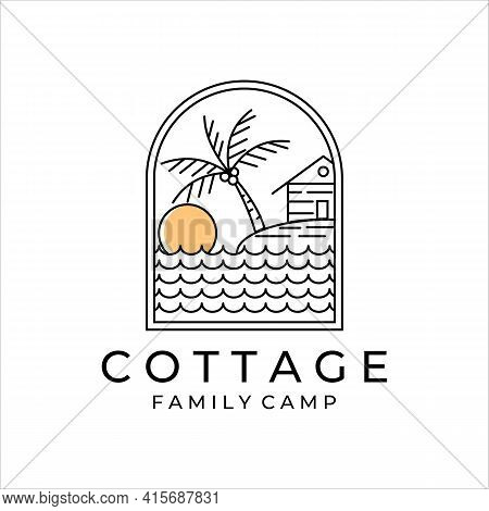 Cottage Or Cabin Line Art Simple Minimalist Vector Logo Illustration Design. Badge Cottage At The Be