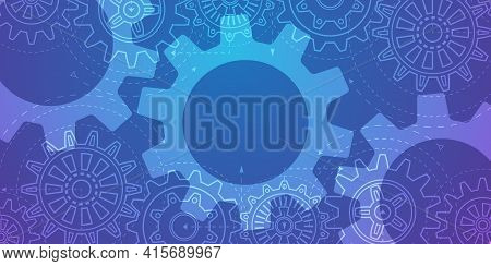 Technology Background .technical Drawing Of Gears .engineering Concept.rotating Mechanism Of Round P