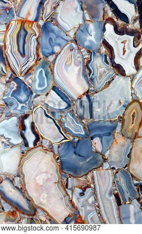 Luxury Background Mesmerizing Cross-sectional View Of White Blue Agate Crystal Gemstones. Natural Ag