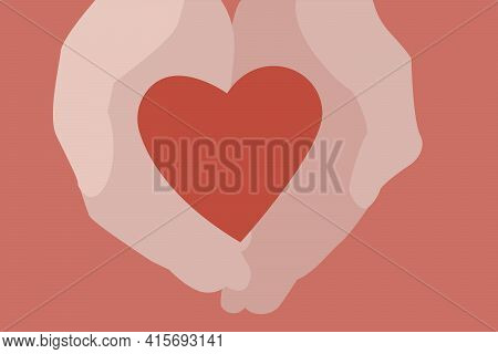 Red Heart In Hand. Minimalism. The Concept Of Declaration Of Love, Saving Life. Mother's Day, Valent