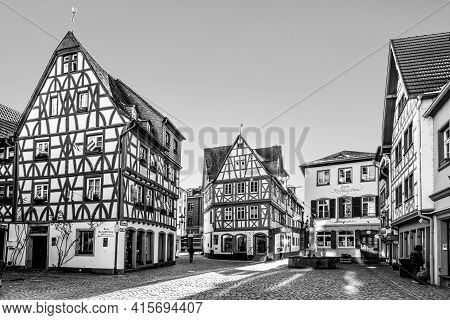 Mainz, Germany - February 13, 2021: Historic City Center Of Mainz With Old Traditional Half Timbered