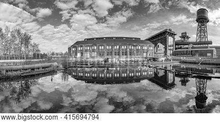 Bochum, Germany - February 23, 2021: Industrial Heritage Of Ruhr Region. Former Power Plant In Panor