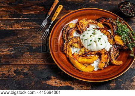 Salad With Cheese Burrata And Baked Pumpkin In A Plate. Dark Wooden Background. Top View. Copy Space
