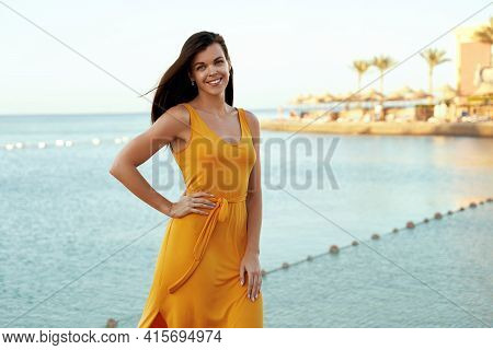 Happy European Girl Posing On Tropical Seafront