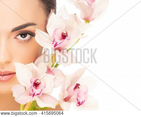Close-up Beauty Portrait Of Young And Beautiful Asian Woman. Skincare, Makeup And Cosmetology.