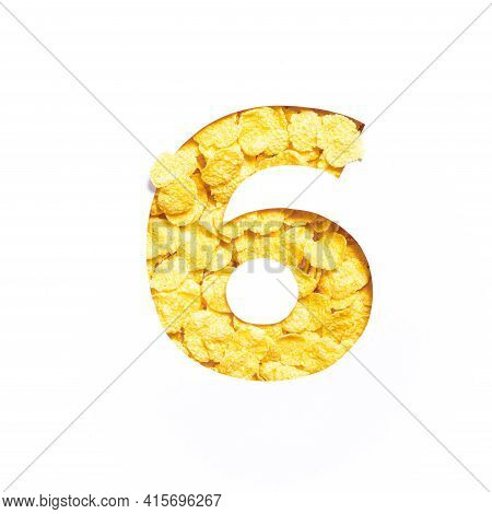 Number Six Made Of Corn Flakes, Paper Cut In Shape Of Sixth Numeral Isolated On White. Typeface For