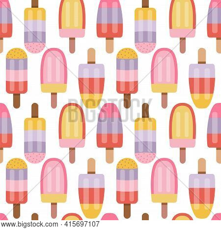 Fruity Ice Cream Sorbet And Popsicle Pattern