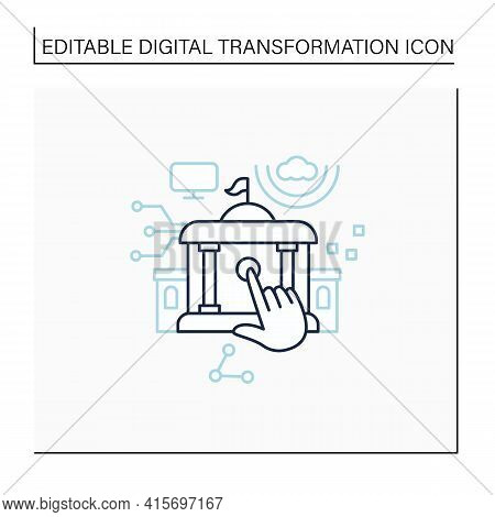 Electronic Government Line Icon. Modern Technologies. Digitalization. Solving Public Affairs Online.