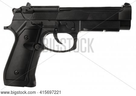 Plastic toy gun isolated on white background