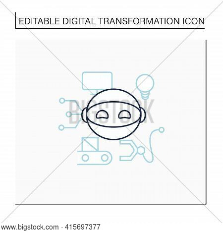 Robot Line Icon. Smart Production Robot. Robotizing. Modern Technologies. Future. Available Services