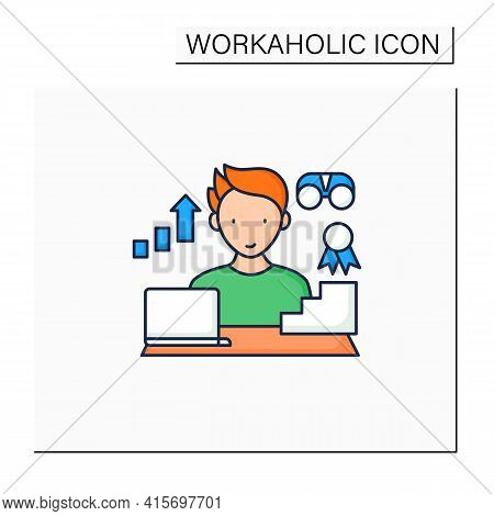 Workaholic Color Icon.improving Career Prospects. Increase Productivity. Work Done Reward. Man At La
