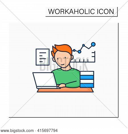 Workaholic Color Icon.prevalence Workaholism Statistics. People Number Dependent On Work. Man At Lap