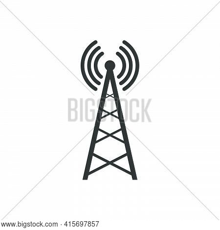 Transmitter Antenna Icon. Broadcast Tower Symbol. Wireless Technology Equipment. Vector Isolated On