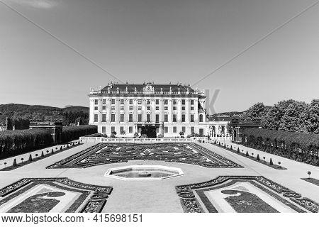 Vienna, Austria - April 24, 2015: Schonbrunn Palace With Prince Garden View In Vienna, Austria.  The