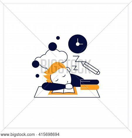 School Procrastinating Flat Icon.unnecessarily Postpone Dealing Tasks. Sleep At Lesson. Tired Person