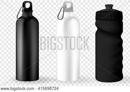 Water Bottle White, Silver And Black Empty Glossy Metal Reusable Water Bottle. Illustration Of Conta