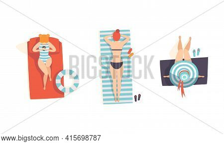 Top View Of Lying Girls In Swimsuits Set, People Enjoying Of Summer Holidays And Sunbathing On The B