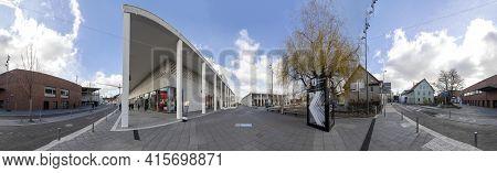 Metzingen, Germany - March 20, 2021: Empty Shopping Mall In Metzingen, Germany Due To Corona Shutdow