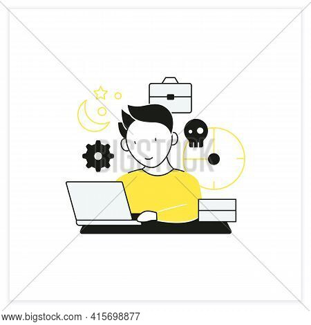 Workaholic Flat Icon. Working Long Hours. Work From Morning To Night. Overworking Concept.vector Ill