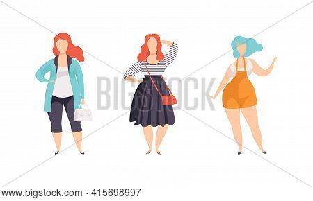 Beautiful Plump Women Set, Plus Size Girls In Fashion Clothes, Body Positive Concept Flat Vector Ill