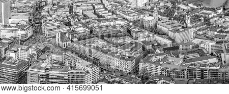 Frankfurt, Germany - May 2, 2015: Panorama Of Frankfurt Am Main With Skyscrapers And Shopping Mile Z