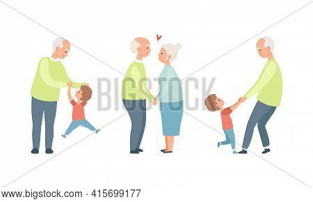 Happy Grandparents Set, Elderly Loving Couple Activity, Grandpa Having Good Time With Their Grandson