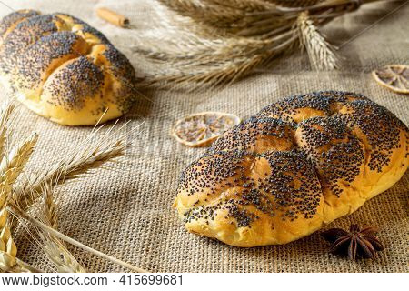 Home Baked Bread. Rye Bakery With Crusty Loaves And Crumbs. Fresh Rustic Traditional Bread With Popp