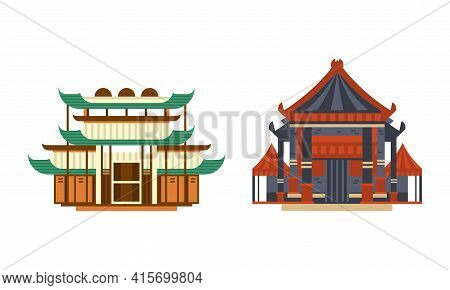 Asian Traditional Architectural Buildings Set, Ancient Eastern Cultural Objects, Pagoda Palace Templ