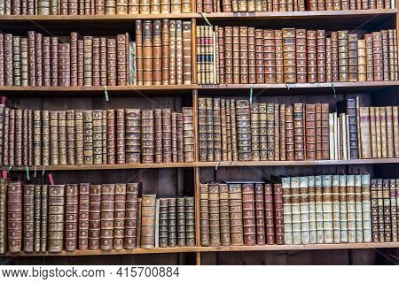 Vienna, Austria - Apr 24, 2015:  Books In The Beautiful Austrian National Library In Vienna, Austria