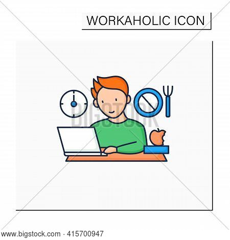 Workaholic Color Icon.skip Lunch Breaks Through Work. Man At Laptop. Hard Working.overworking Concep
