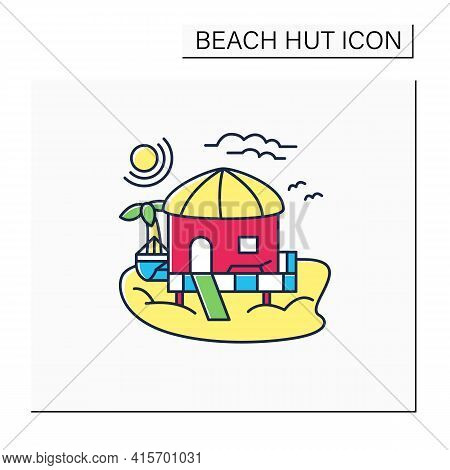 Beach Hut Color Icon.tropical Comfortable Bungalow On Beach. Round Roof. Palms, Seascape. Relaxing P