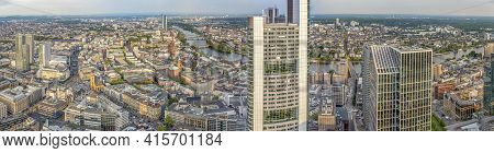 Frankfurt, Germany - May 2, 2015: Aerial View Of Frankfurt With Skyline In Frankfurt, Germany. Frank