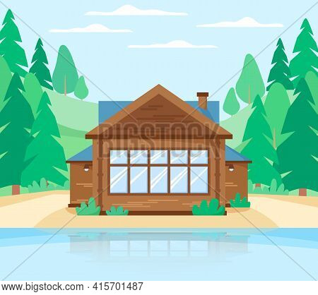 Wooden Cottage In Forest Near Lake. Country House Beautiful Landscape With Rustic Landscape, Lake, H