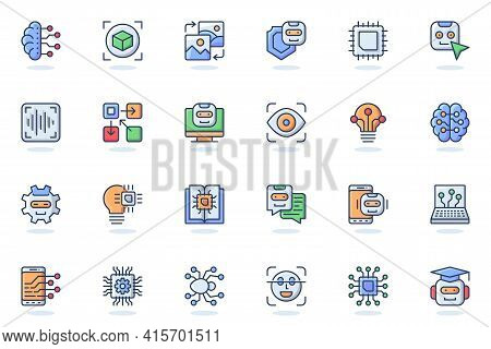 Artificial Intelligence Web Flat Line Icon. Bundle Outline Pictogram Of Smart Machine Learning, Robo