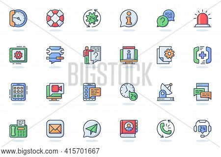 Support Services Web Flat Line Icon. Bundle Outline Pictogram Of Help, Faq, Operator, Hotline, Consu
